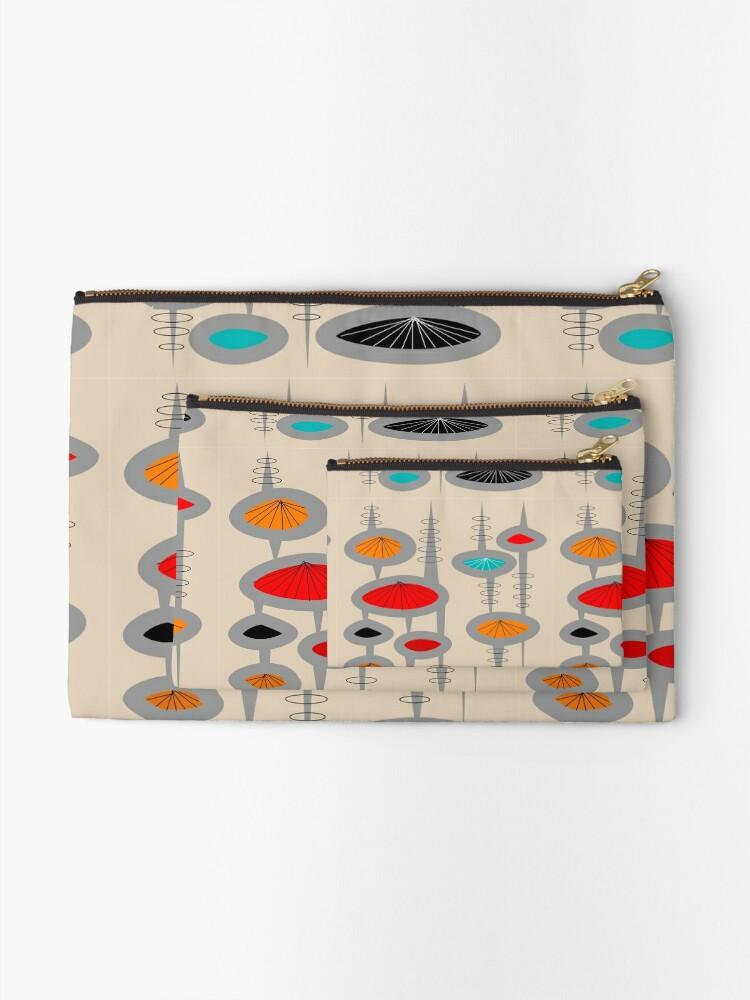 Alternate view of Atomic Era Inspired Art Zipper Pouch