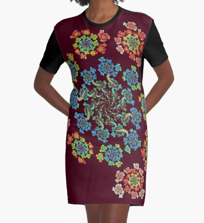 Flowers #Fractal Art Graphic T-Shirt Dress