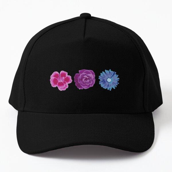 Bi Pastel Boho Flowers. Bisexual Pride Baseball Cap