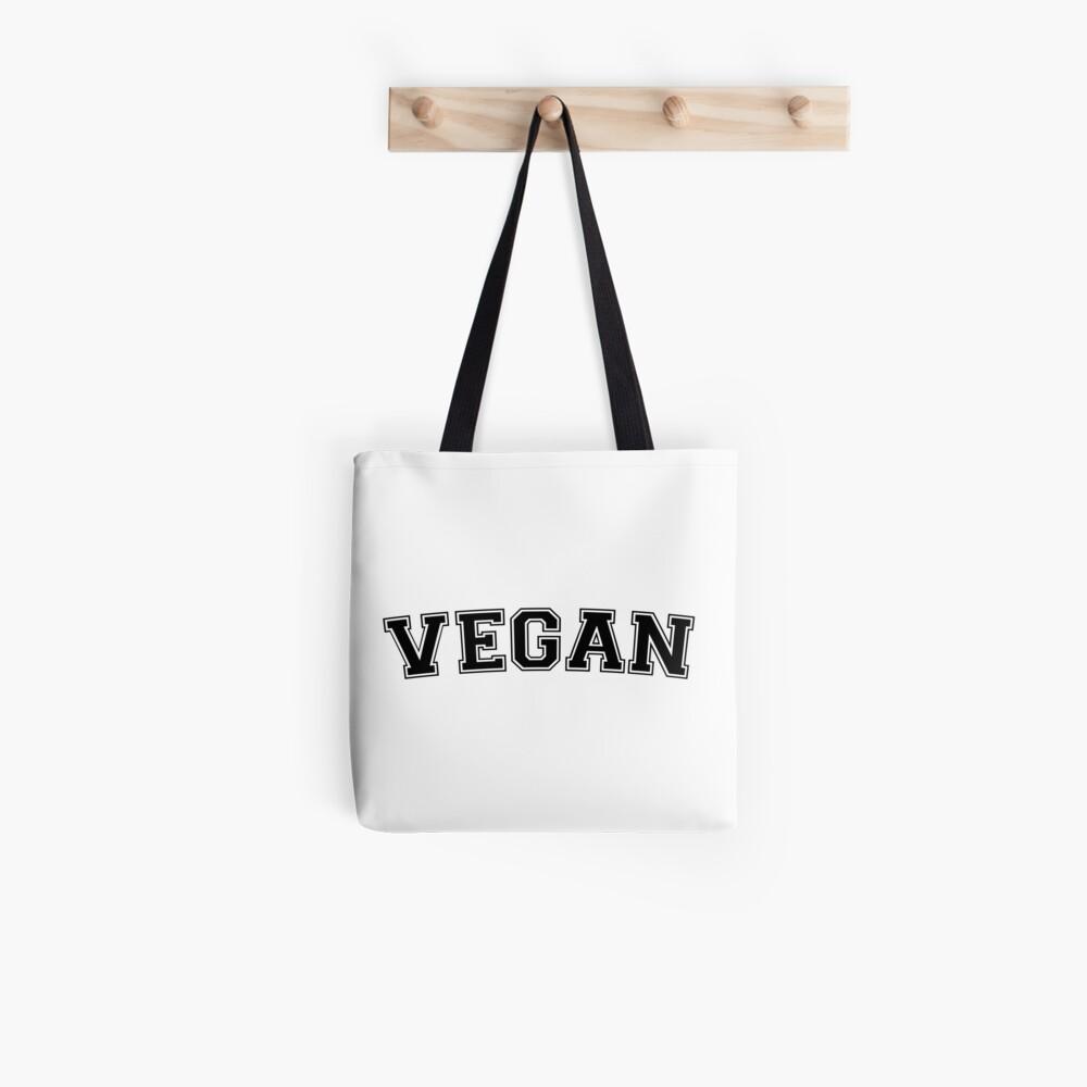 Vegane Varsity (schwarz) Tote Bag