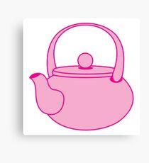a cute pink tea kettle Canvas Print