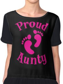 Proud Aunty with cute maternity baby feet Chiffon Top