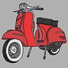 Vespa Illustration - Red by thyearlofgrey
