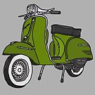 Vespa Illustration - Pesto Green by thyearlofgrey