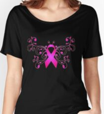 Breast Cancer Butterfly Ribbon Women's Relaxed Fit T-Shirt