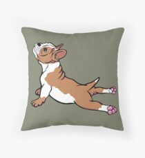 Boston Bull Terrier Puppy Brown Throw Pillow