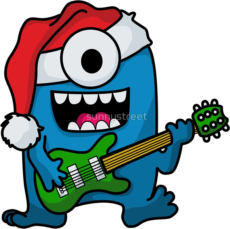Blue alien monster santa rock guitarist by sunnystreet