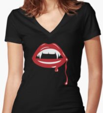 Vampire Fangs Women's Fitted V-Neck T-Shirt