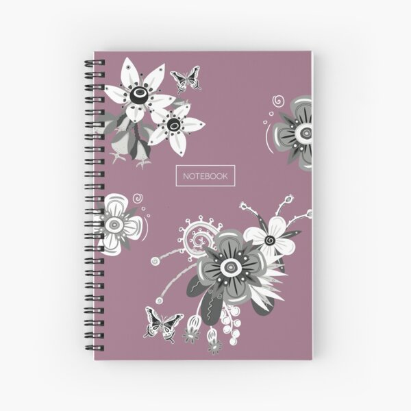 Pink Notebook with Black and White Flowers Spiral Notebook
