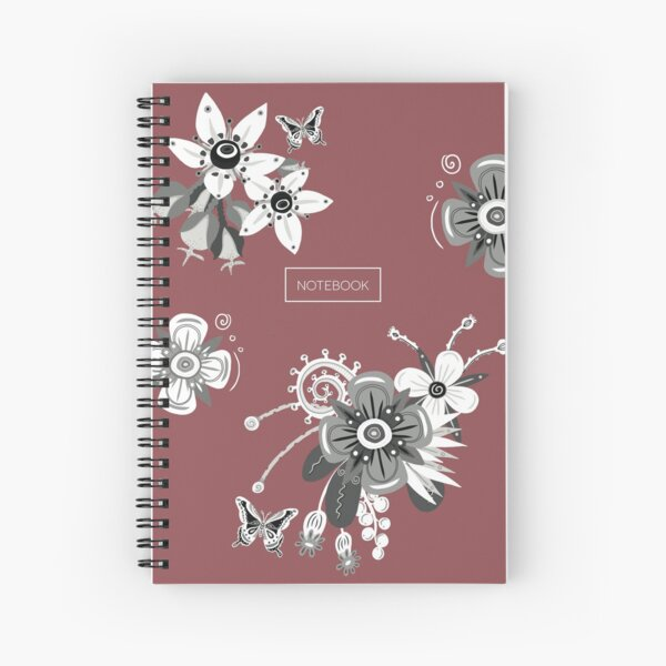 Dusty Red Notebook with Black and White Flowers Spiral Notebook