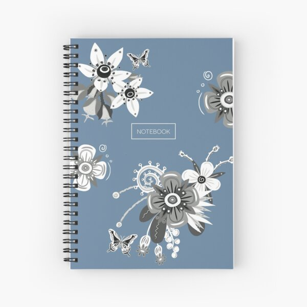 Misty Blue Notebook with Black and White Flowers Spiral Notebook