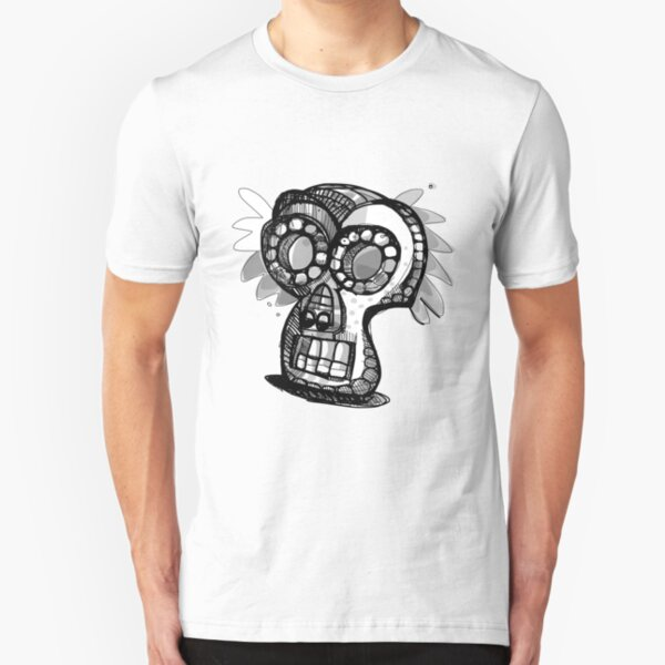 Day Of The Dead Mask Study Slim Fit T-Shirt