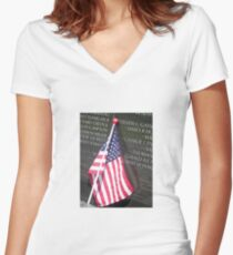 Flag For Fallen Soldier Women's Fitted V-Neck T-Shirt