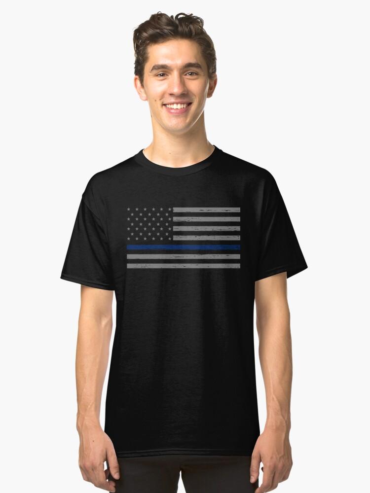 Thin Blue Line Blue Lives Matter Classic T-Shirt Front