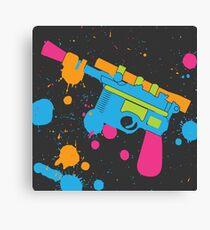Han Solo Blaster Paint Splatter (Full Color) Canvas Print