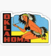 Oklahoma OK State Vintage Pin Up Girl Travel Decal Sticker