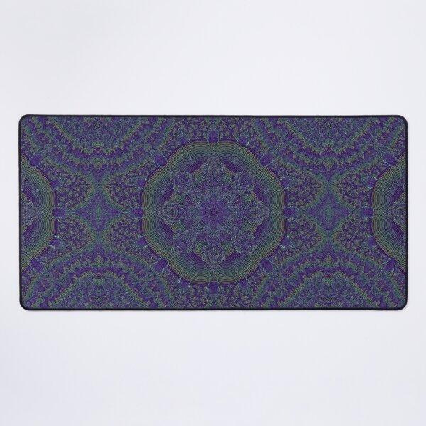 Fractal Kaleidoscope Symmetrical Zendoodle; Greens on Purple Desk Mat
