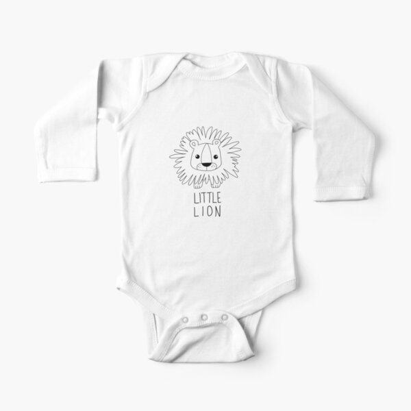 Little Lion Illustration Long Sleeve Baby One-Piece