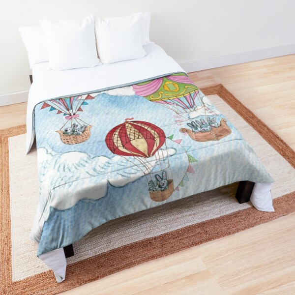 Vintage hot air balloons with cute rabbits Comforter
