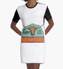 Texas TX State Long Horn Vintage Travel Decal Graphic T-Shirt Dress
