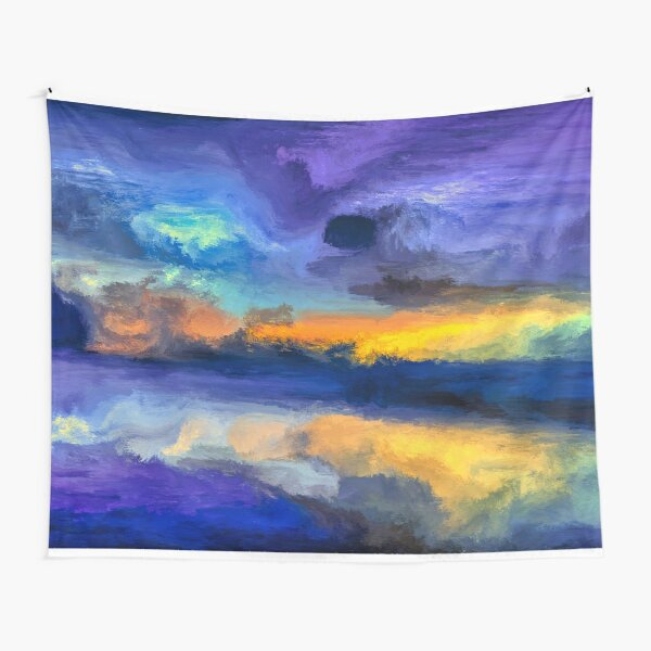 Bali Beach - Coastal Ocean Sunset Painting Tapestry