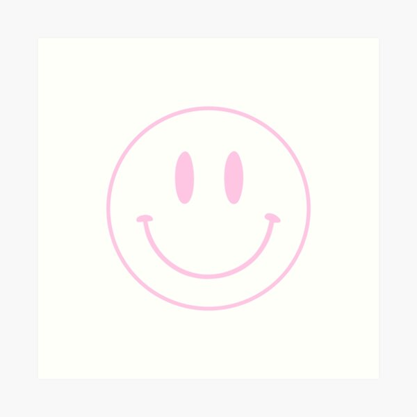 Pink   Happy Face   Smiley    Art Print