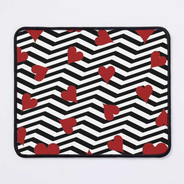 Modern Chevron Red Hearts Line Pattern - Heart Pattern - 3D Mouse Pad