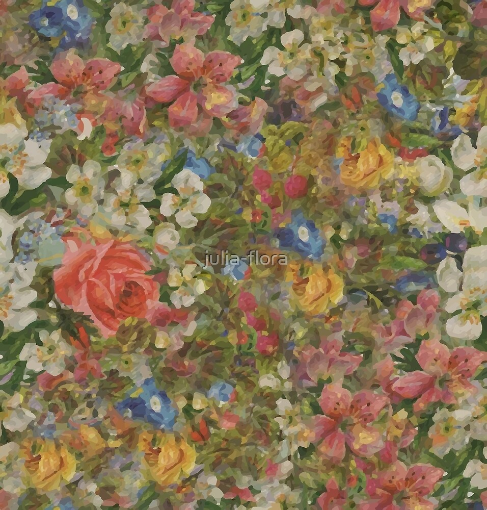 Pretty Odd Flowers Painting By Julia Flora Redbubble