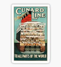 Vintage Cunard Line Ocean Liner Travel Sticker