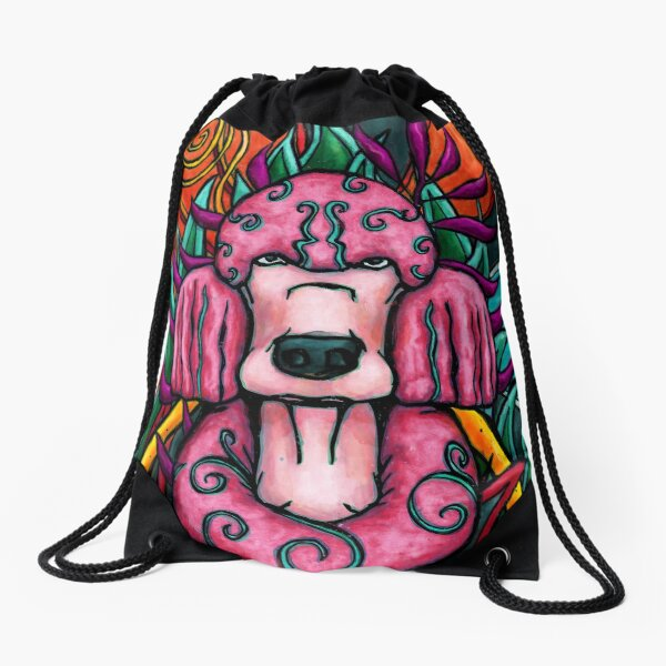 Pink poodle in an abstract jungle decor Drawstring Bag