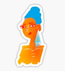 Illustration of beautiful hand drawn woman with blue hair Sticker