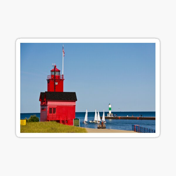 """""""Big Red"""" Lighthouse in Holland, Michigan Sticker"""
