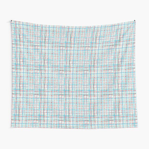 Funky Squiggly Line Plaid Tapestry