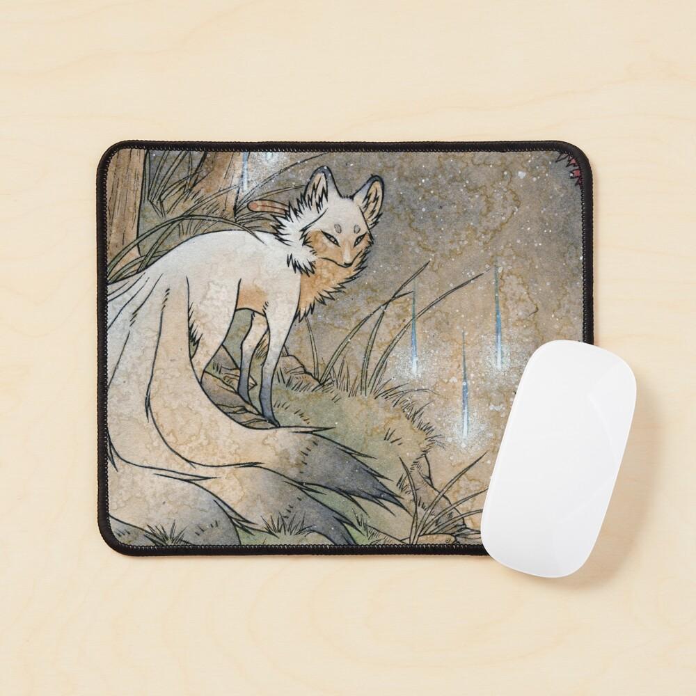 Fox & Wisps - TeaKitsune Fox Yokai Mouse Pad