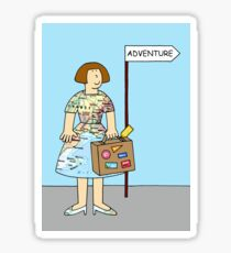 Adventure, gap year, foreign travel for her. Sticker