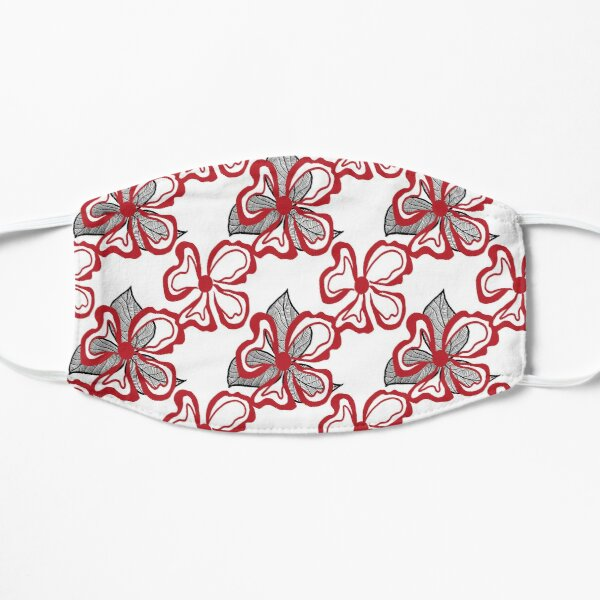 Red White Flower with Black Leaves on White  Flat Mask