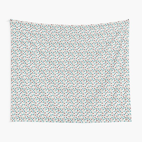Red and Aqua Buttons and Bows Tapestry