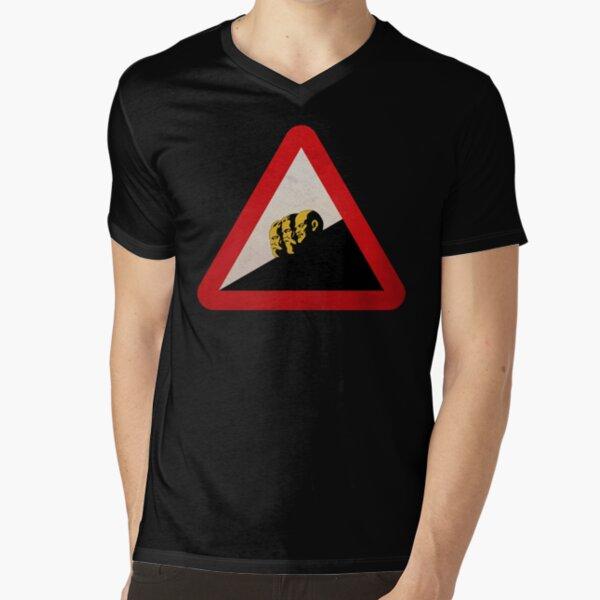 VORSICHT LINKSRUTSCH WARNSCHILD (Weisse Farbvariante) // #linksrutsch // Funny Sign Design T-Shirt mit V-Ausschnitt