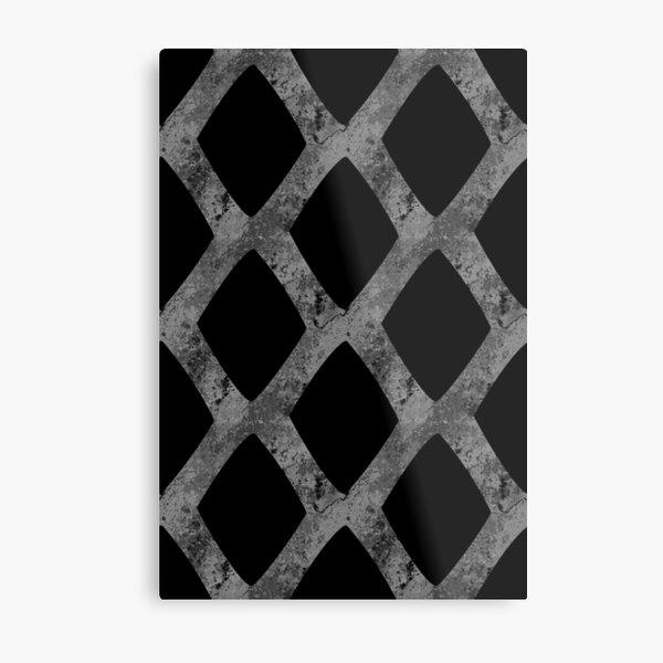 Grid Cube Geometric Dark Pattern Metal Print
