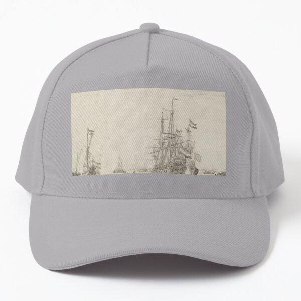 Dutch Ships near the Coast Oil Painting by Willem van de Velde the Elder Baseball Cap