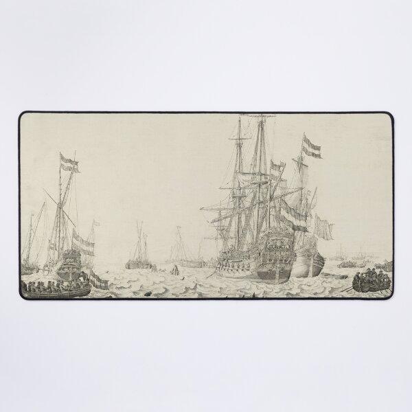 Dutch Ships near the Coast Oil Painting by Willem van de Velde the Elder Desk Mat