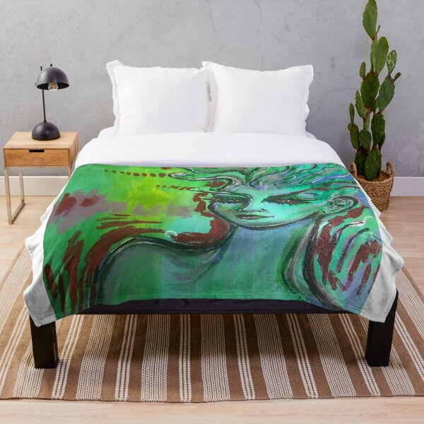 Green Drift Throw Blanket