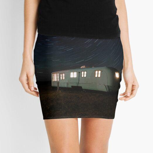 White And Gray Camper Trailer Under Starry Night Mini Skirt