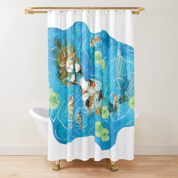Koi Mermaid Relaxing in a Pond Shower Curtain