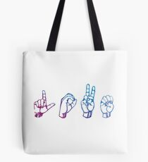 "ASL ""Love"" Watercolour Purple Tote Bag"