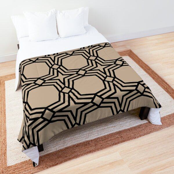 Brown and Black Minimal Star Shape Tile Pattern 2022 Color Trends Behr Basswood MQ2-46 - Trending Colours Comforter