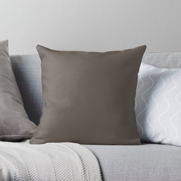 Grayed Dark Brown Solid Color 2022 Popular - Trending Shade PPG Intrigue PPG1019-7  Color trends - Popular Hues Throw Pillow