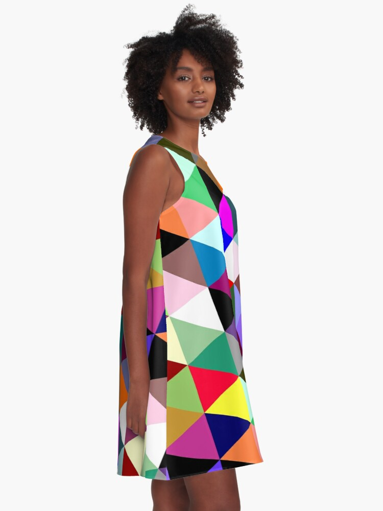 Alternate view of Colorful triangle pattern A-Line Dress