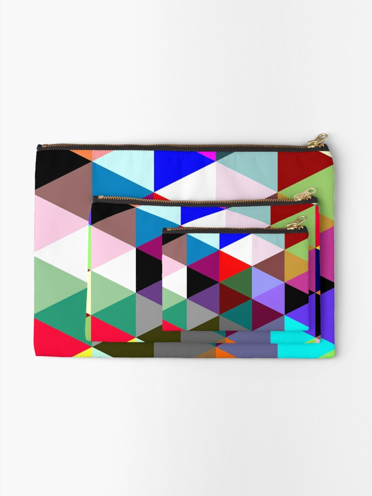 Alternate view of Colorful triangle pattern Zipper Pouch