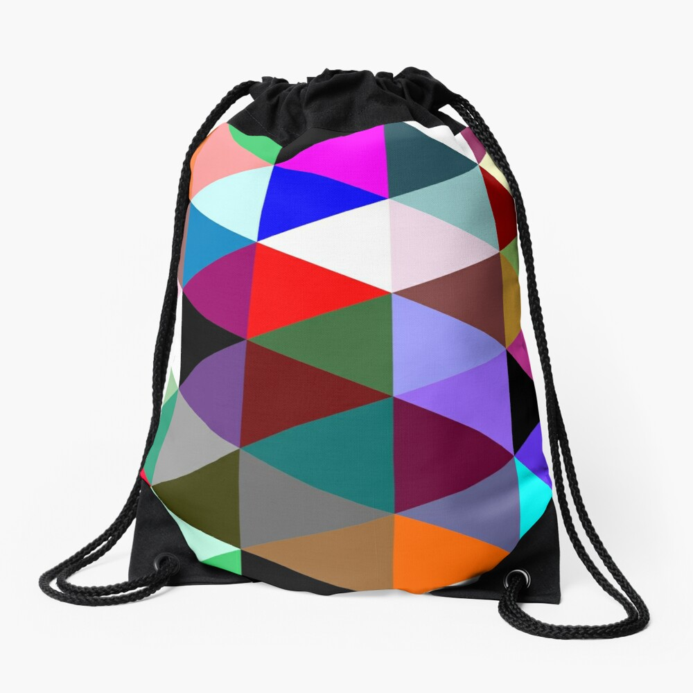 Colorful triangle pattern Drawstring Bag